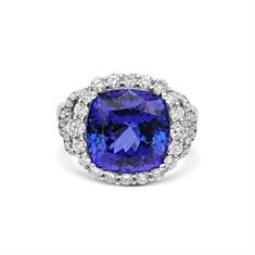 Cushion Cut Tanzanite & Brilliant Cut Diamond Dress Ring