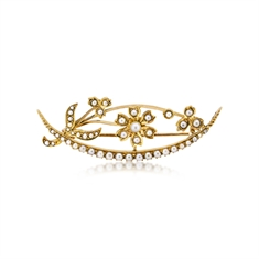 Seed Pearl Flower & Crescent Brooch