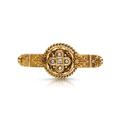 Victorian Gold Pearl & Diamond Rope Bar Brooch