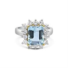 Octagon Aqua & Brilliant Cut Diamond Claw Set Cluster