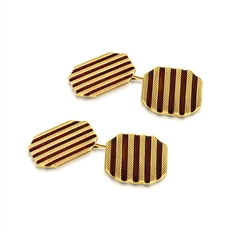 Octagon Black Enamel Striped 9ct Yellow Gold Cufflinks