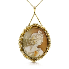 Carved Shell Cameo Locket Pendant