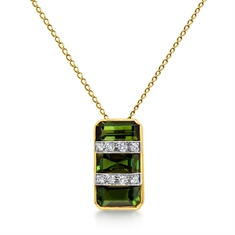 1950's Green Tourmaline & Diamond Pendant
