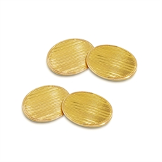 Oval Gold Cufflinks With Linear Detail