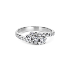 A Three Stone Cross Over Ring With Diamond Set Band