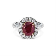 Grain Set Oval Ruby & Diamond Cluster Ring