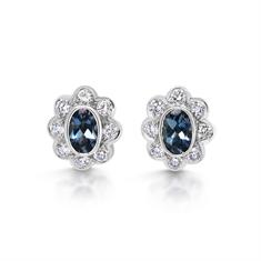 Aqua & Diamond Oval Cluster Stud Earrings