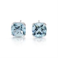 Aqua Claw Set Cushion Cut Stud Earrings