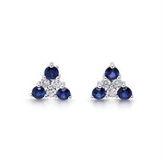 Sapphire & Diamond Triangular Claw Set Earrings