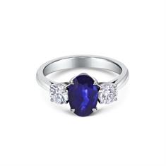 Sapphire Oval & Brilliant Cut Diamond 3 Stone Ring
