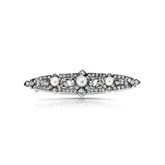Edwardian Silver & Gold Pearl & Diamond Brooch