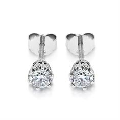 Old Cut Diamond Studs With Diamond Set Collets