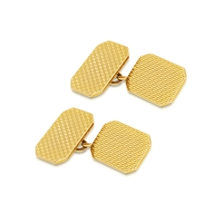 Octagon 9ct Yellow Gold Patterned Cufflinks