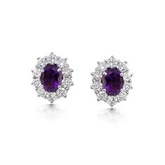 Oval Amethyst & Brilliant Cut Diamond Cluster Stud Earrings