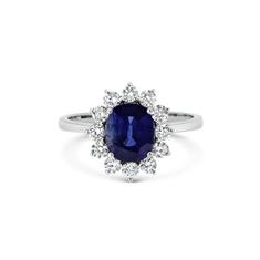 Claw Set Oval Sapphire & Diamond Cluster Ring