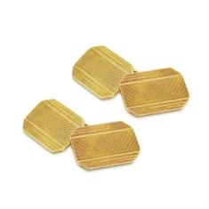 Rectangular Gold Cufflinks With Engraved Detail