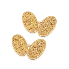 Floral Engraved Oval Gold Cufflinks