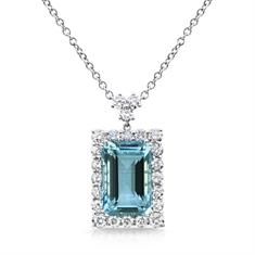 Octagon Aqua & Diamond Cluster Pendant