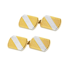 Two Tone 9ct Yellow & White Gold Engraved Cufflinks