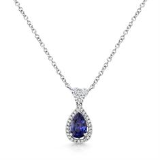 Pear Shape Sapphire & Diamond Cluster Pendant