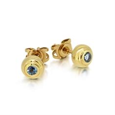 Round Aquamarine Rub-Over Set Stud Earrings