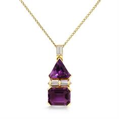 Fancy Shaped Amethyst & Baguette Diamond Pendant