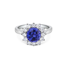 Oval Sapphire & Diamond Cluster Ring