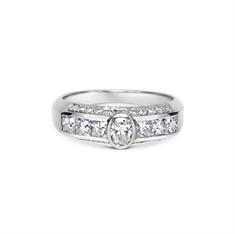 Oval Rub-Over Set Diamond Engagement Ring With Diamond Set Band