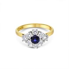 Round Sapphire & Brilliant Cut Diamond Cluster Ring