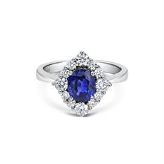 Oval Sapphire & Brilliant Cut Diamond Cluster
