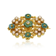 Turquoise & Pearl Victorian Gold Filigree Brooch