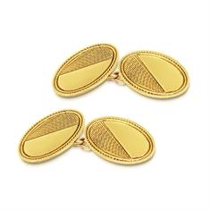 Oval Engraved Half & Half 9ct Yellow Gold Cufflinks