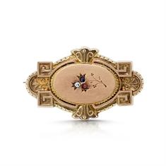 Victorian Gold Gem Set Brooch