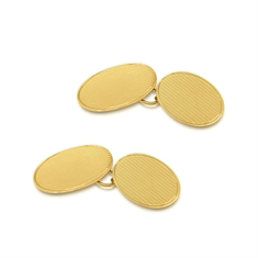 Pin Stripe Oval Engraved 9ct Yellow Gold Cufflinks With Border