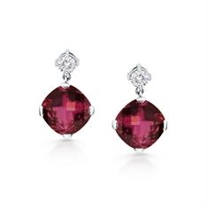 Pink Checkerboard Tourmaline & Diamond Drop Earrings
