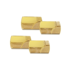 Rectangular Yellow Gold Cuff Links With A Woven Pattern
