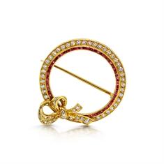 Ruby & Diamond Circle Brooch