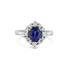 Sapphire & Diamond Claw Set Oval Cluster Ring