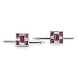 Deco Style Ruby & Diamond Button Set