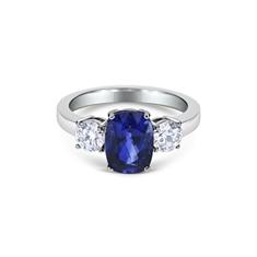 Cushion Cut Sapphire & Brilliant Cut Diamond Claw Set 3 Stone