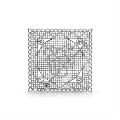Pierced Diamond Set Honeycomb Brooch