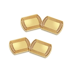 Yellow Gold Cufflinks Rectangular With Rounded Ends