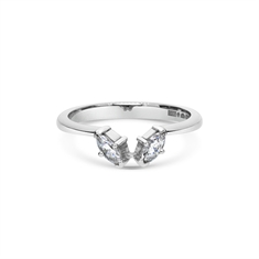 Two Stone Marquise Cut Diamond Wedding Band