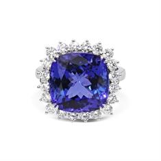 Cushion Cut Tanzanite & Brilliant Cut Diamond Claw Set Cluster Ring