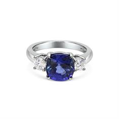 Sapphire Cushion Cut & Brilliant Cut Diamond 3 Stone Ring