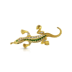 Tsavorite & Diamond Set Lizard Brooch