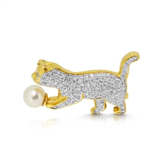 Gold & Diamond Set Cat Brooch With Pearl