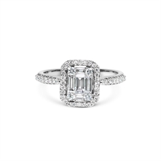 Emerald Cut Illusion Set Cluster Ring With A Micro Set Border