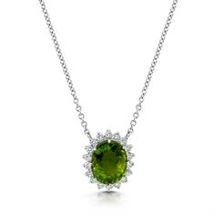 Oval Peridot & Brilliant Cut Diamond Cluster Pendant