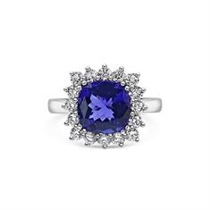Cushion Cut Claw Set Tanzanite & Diamond Dress Ring